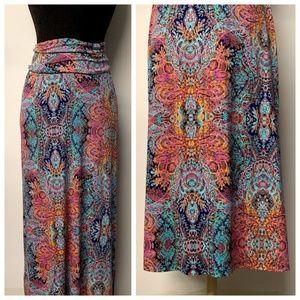 Cynthia Rowley Paisley Fold Over Waist Maxi Skirt
